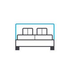 double bed linear icon concept double bed line vector image
