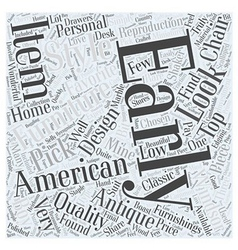 Early american furniture Word Cloud Concept vector