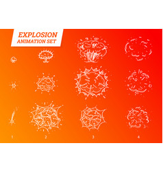 explosions icons set on white background cartoon vector image