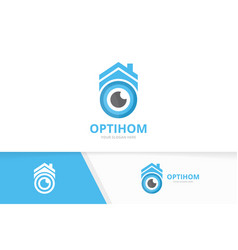 Eye and real estate logo combination optic vector