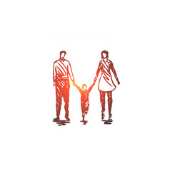 family father child woman couple concept hand vector image