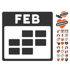 february calendar grid icon with love bonus vector image