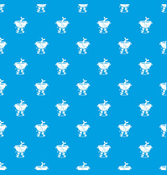 Fish soup on a fire pattern seamless blue vector