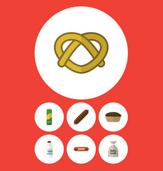 Flat icon eating set of bottle kielbasa cookie vector
