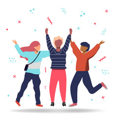 friends jumping together for friendship concept vector image