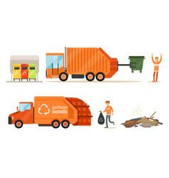 Garbage truck loads garbage set vector