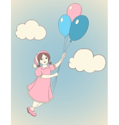 girl balloons vector image