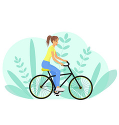 Girl rides a bike side view woman riding a vector