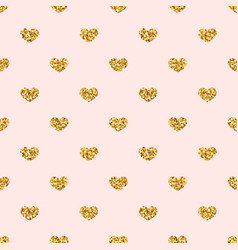 gold heart seamless pattern golden geometric vector image