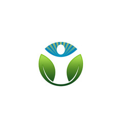 Green body circle logo vector