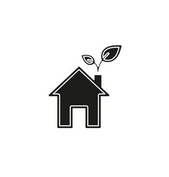 green house and leaves eco icon alternative vector image