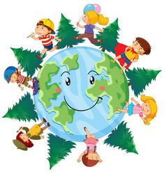 Happy children on earth vector