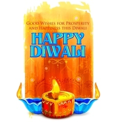 Happy Diwali background with coloful watercolor vector image