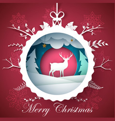 happy new year merry christmas ball - winter vector image