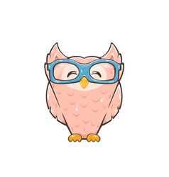 happy pink owl vector image