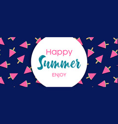 happy summer banner watermelon ice cream vector image