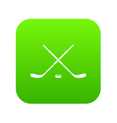 Hockey icon digital green vector