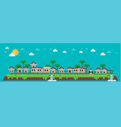 houses village on tropical island and blue sky vector image