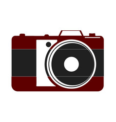 Icon of black and red camera on a white vector