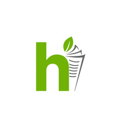 initial letter h with paper and leaf shape in vector image