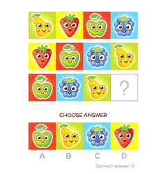 IQ test Logical tasks composed of colored fruits vector