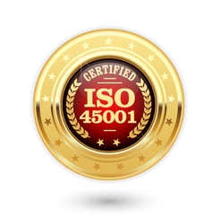 ISO 45001 certified medal - occupational health vector