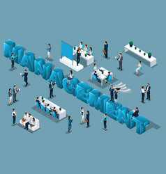 Isometric 3d people manager set vector
