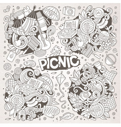 Line art set of picnic doodle designs vector