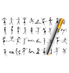 manikins doodle set vector image
