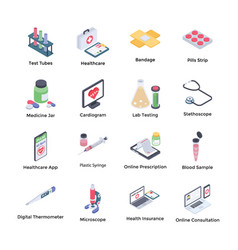 Medical tools isometric icons vector