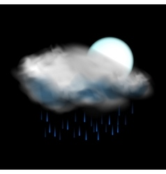 Moon and cloud and rain weather icon vector