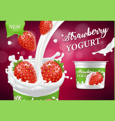 natural strawberry yogurt ad realistic vector image