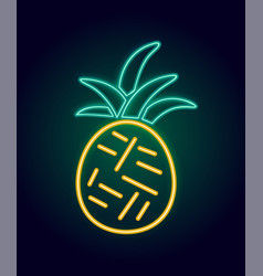 Neon pineapple with glowing vector