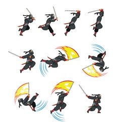 Ninja Flying Attack Game Sprite vector