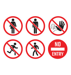 no entry icon set no people sign no men and vector image