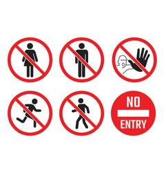 No entry icon set people sign men vector