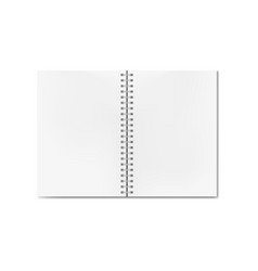 opened realistic notebook with blank sheets vector image