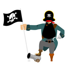 Pirate hook and cannon eye patch and smoking pipe vector
