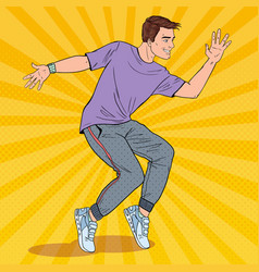 Pop art handsome young hip hop dancer vector
