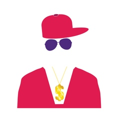 Rap singer in pink vector