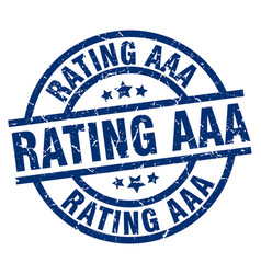 Rating aaa blue round grunge stamp vector