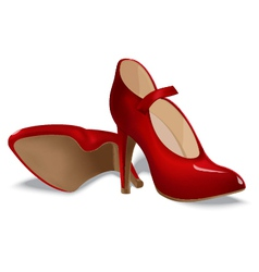 Red shoes for women vector