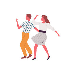 retro couple dance lindy hop together vector image
