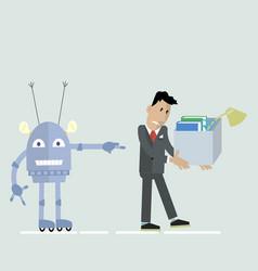 Robot vs man clipart vector