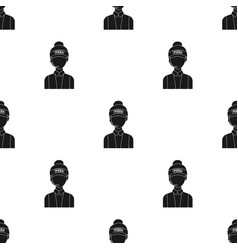 Saleswoman icon in black style isolated on white vector