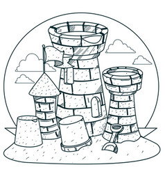 Sand castle on the beach outline drawings for vector