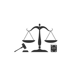 scales justice gavel and book icon isolated vector image