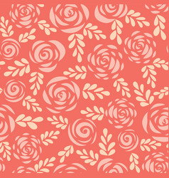 seamless pattern scandinavian roses red vector image