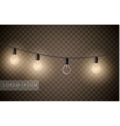 set light bulbs garlands on transparent vector image
