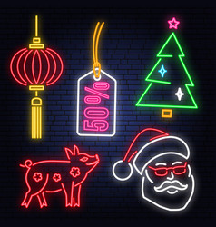 set of happy new year 2019 neon sign with santa vector image